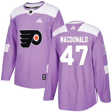 Adidas Flyers #47 Andrew MacDonald Purple Authentic Fights Cancer Stitched Youth NHL Jersey