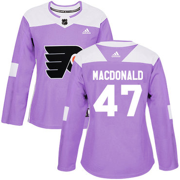 Adidas Flyers #47 Andrew MacDonald Purple Authentic Fights Cancer Women's Stitched NHL Jersey