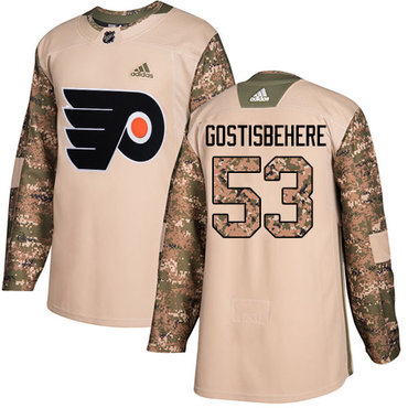 Adidas Flyers #53 Shayne Gostisbehere Camo Authentic 2017 Veterans Day Stitched Youth NHL Jersey