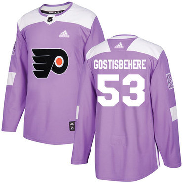 Adidas Flyers #53 Shayne Gostisbehere Purple Authentic Fights Cancer Stitched Youth NHL Jersey