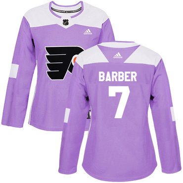 Adidas Flyers #7 Bill Barber Purple Authentic Fights Cancer Women's Stitched NHL Jersey