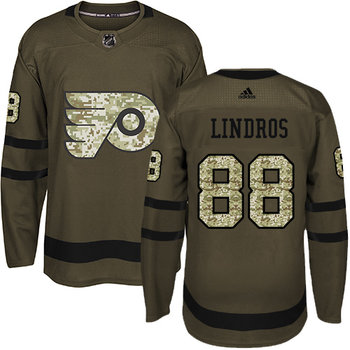 Adidas Flyers #88 Eric Lindros Green Salute to Service Stitched NHL Jersey