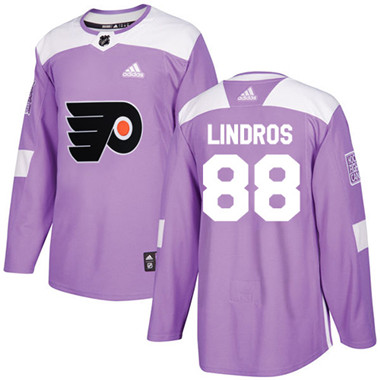 Adidas Flyers #88 Eric Lindros Purple Authentic Fights Cancer Stitched NHL Jersey