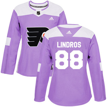 Adidas Flyers #88 Eric Lindros Purple Authentic Fights Cancer Women's Stitched NHL Jersey
