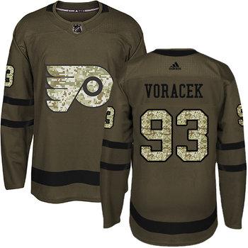 Adidas Flyers #93 Jakub Voracek Green Salute to Service Stitched NHL Jersey