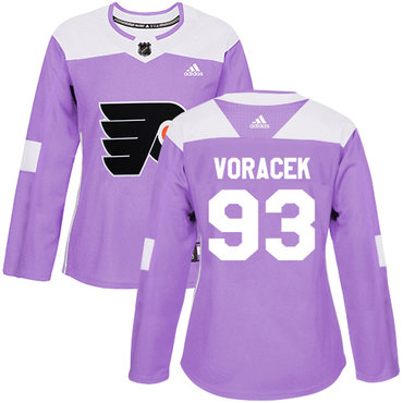 Adidas Flyers #93 Jakub Voracek Purple Authentic Fights Cancer Women's Stitched NHL Jersey