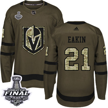 Adidas Golden Knights #21 Cody Eakin Green Salute to Service 2018 Stanley Cup Final Stitched NHL Jersey
