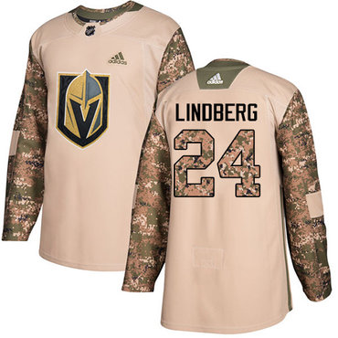Adidas Golden Knights #24 Oscar Lindberg Camo Authentic 2017 Veterans Day Stitched Youth NHL Jersey