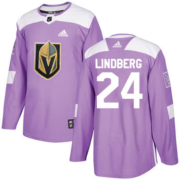 Adidas Golden Knights #24 Oscar Lindberg Purple Authentic Fights Cancer Stitched Youth NHL Jersey