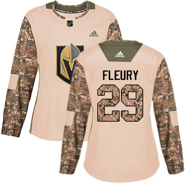 Adidas Golden Knights #29 Marc-Andre Fleury Camo Authentic 2017 Veterans Day Women's Stitched NHL Jersey
