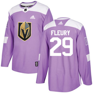Adidas Golden Knights #29 Marc-Andre Fleury Purple Authentic Fights Cancer Stitched Youth NHL Jersey