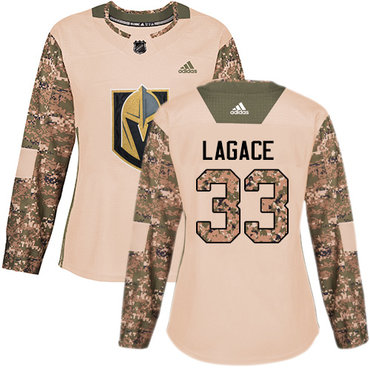Adidas Golden Knights #33 Maxime Lagace Camo Authentic 2017 Veterans Day Women's Stitched NHL Jersey