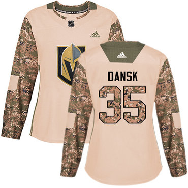 Adidas Golden Knights #35 Oscar Dansk Camo Authentic 2017 Veterans Day Women's Stitched NHL Jersey