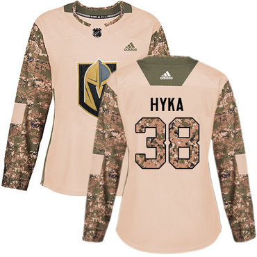 Adidas Golden Knights #38 Tomas Hyka Camo Authentic 2017 Veterans Day Women's Stitched NHL Jersey