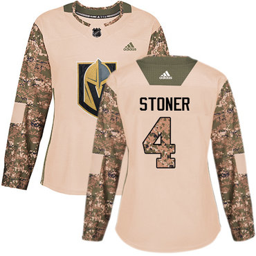Adidas Golden Knights #4 Clayton Stoner Camo Authentic 2017 Veterans Day Women's Stitched NHL Jersey