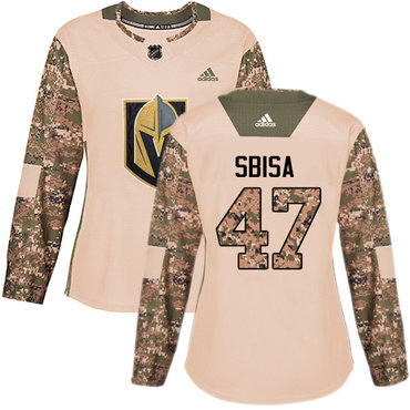 Adidas Golden Knights #47 Luca Sbisa Camo Authentic 2017 Veterans Day Women's Stitched NHL Jersey