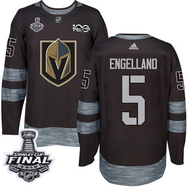 Adidas Golden Knights #5 Deryk Engelland Black 1917-2017 100th Anniversary 2018 Stanley Cup Final Stitched NHL Jersey