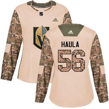 Adidas Golden Knights #56 Erik Haula Camo Authentic 2017 Veterans Day Women's Stitched NHL Jersey
