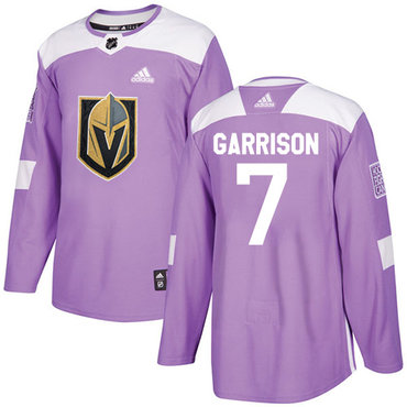 Adidas Golden Knights #7 Jason Garrison Purple Authentic Fights Cancer Stitched Youth NHL Jersey