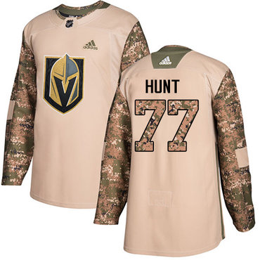 Adidas Golden Knights #77 Brad Hunt Camo Authentic 2017 Veterans Day Stitched Youth NHL Jersey