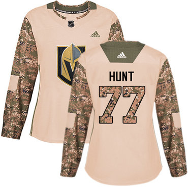 Adidas Golden Knights #77 Brad Hunt Camo Authentic 2017 Veterans Day Women's Stitched NHL Jersey