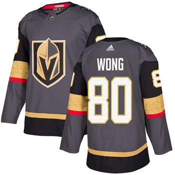 Adidas Golden Knights #80 Tyler Wong Grey Home Authentic Stitched NHL Jersey