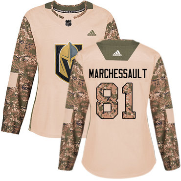 Adidas Golden Knights #81 Jonathan Marchessault Camo Authentic 2017 Veterans Day Women's Stitched NHL Jersey