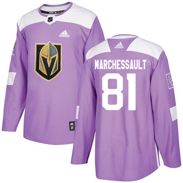 Adidas Golden Knights #81 Jonathan Marchessault Purple Authentic Fights Cancer Stitched Youth NHL Jersey