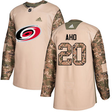 Adidas Hurricanes #20 Sebastian Aho Camo Authentic 2017 Veterans Day Stitched Youth NHL Jersey