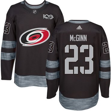 Adidas Hurricanes #23 Brock McGinn Black 1917-2017 100th Anniversary Stitched NHL Jersey