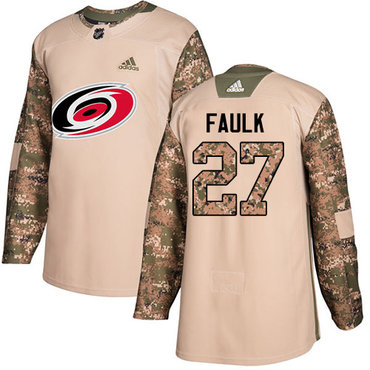 Adidas Hurricanes #27 Justin Faulk Camo Authentic 2017 Veterans Day Stitched Youth NHL Jersey