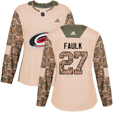 Adidas Hurricanes #27 Justin Faulk Camo Authentic 2017 Veterans Day Women's Stitched NHL Jersey