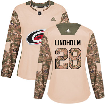 Adidas Hurricanes #28 Elias Lindholm Camo Authentic 2017 Veterans Day Women's Stitched NHL Jersey