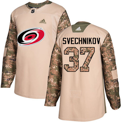 Adidas Hurricanes #37 Andrei Svechnikov Camo Authentic 2017 Veterans Day Stitched Youth NHL Jersey