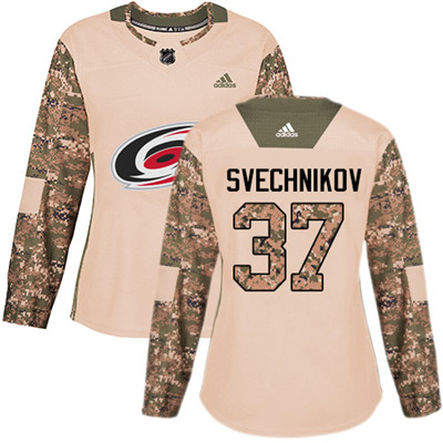Adidas Hurricanes #37 Andrei Svechnikov Camo Authentic 2017 Veterans Day Women's Stitched NHL Jersey