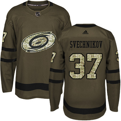 Adidas Hurricanes #37 Andrei Svechnikov Green Salute to Service Stitched Youth NHL Jersey