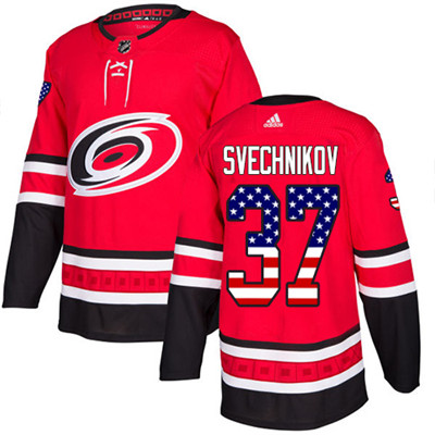 Adidas Hurricanes #37 Andrei Svechnikov Red Home Authentic USA Flag Stitched Youth NHL Jersey