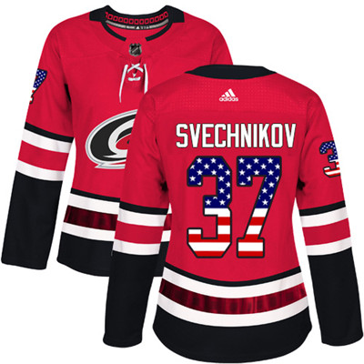 Adidas Hurricanes #37 Andrei Svechnikov Red Home Authentic USA Flag Women's Stitched NHL Jersey