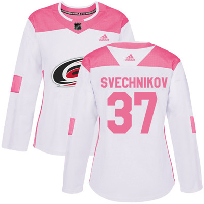 Adidas Hurricanes #37 Andrei Svechnikov White Pink Authentic Fashion Women's Stitched NHL Jersey