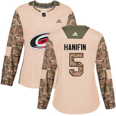Adidas Hurricanes #5 Noah Hanifin Camo Authentic 2017 Veterans Day Women's Stitched NHL Jersey