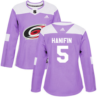 Adidas Hurricanes #5 Noah Hanifin Purple Authentic Fights Cancer Women's Stitched NHL Jersey