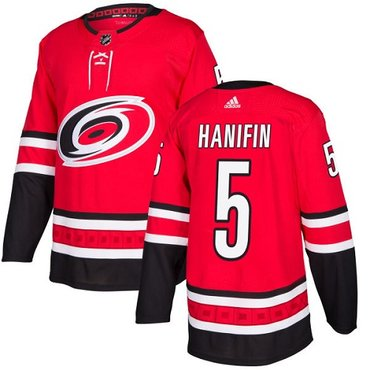 Adidas Hurricanes #5 Noah Hanifin Red Home Authentic Stitched NHL Jersey