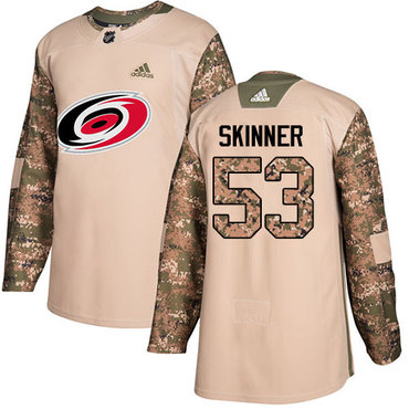 Adidas Hurricanes #53 Jeff Skinner Camo Authentic 2017 Veterans Day Stitched Youth NHL Jersey