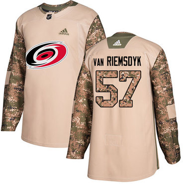 Adidas Hurricanes #57 Trevor Van Riemsdyk Camo Authentic 2017 Veterans Day Stitched Youth NHL Jersey