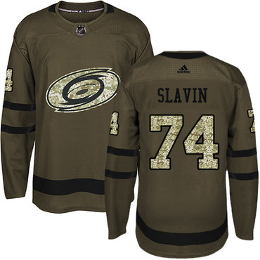 Adidas Hurricanes #74 Jaccob Slavin Green Salute to Service Stitched NHL Jersey
