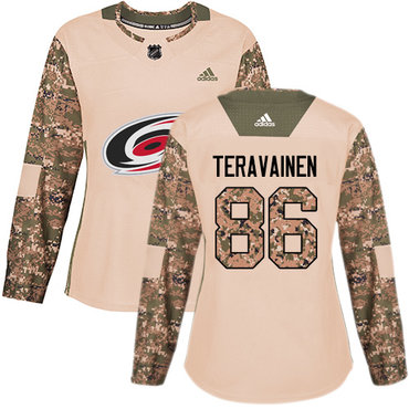 Adidas Hurricanes #86 Teuvo Teravainen Camo Authentic 2017 Veterans Day Women's Stitched NHL Jersey