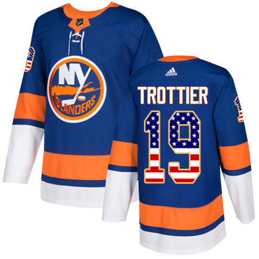 Adidas Islanders #19 Bryan Trottier Royal Blue Home Authentic USA Flag Stitched NHL Jersey