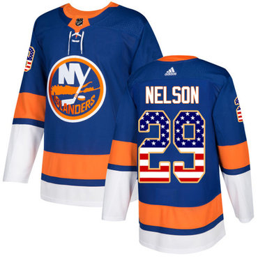 Adidas Islanders #29 Brock Nelson Royal Blue Home Authentic USA Flag Stitched NHL Jersey