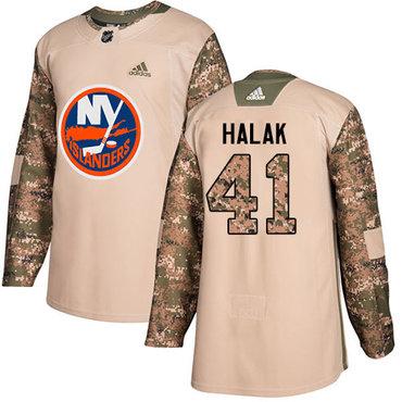Adidas Islanders #41 Jaroslav Halak Camo Authentic 2017 Veterans Day Stitched Youth NHL Jersey
