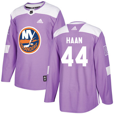 Adidas Islanders #44 Calvin De Haan Purple Authentic Fights Cancer Stitched NHL Jersey